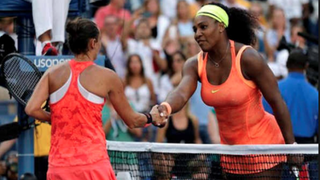 Serena Williams (right) loses to Roberta Vinci in the semifinals of the U.S. Open Sept. 11, 2015, ending her bid to win a calendar-year grand slam, a feat that hasn't been accomplished in 27 years.ABC 7 screenshot