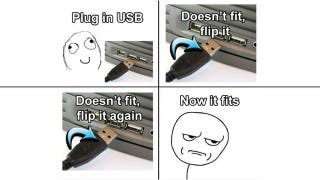 Illustration for article titled How to Plug In a USB Cable Correctly Every Time
