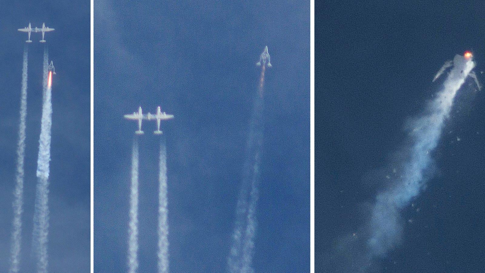 La nave SpaceShipTwo desplegó su sistema de frenos antes de lo debido