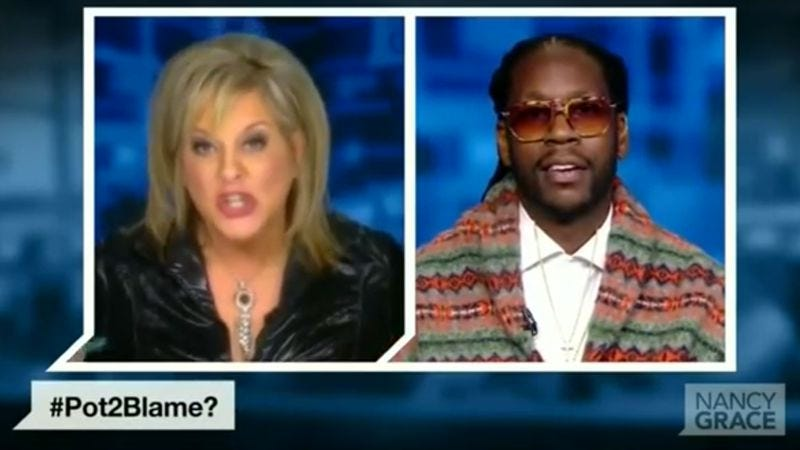 Illustration for article titled Nancy Grace wins the drug war by yelling at 2 Chainz