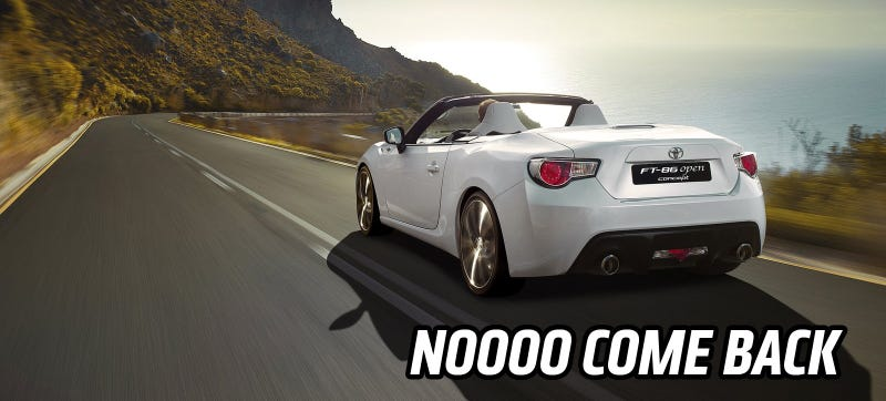 Illustration for article titled A Scion FR-S Turbo Or Convertible Are For Real Not Happening, People