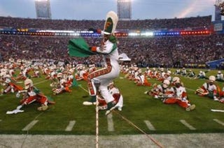 Florida A&M's marching band keeps the crowd entertained. Half the fun of homecoming is watching the halftime show.