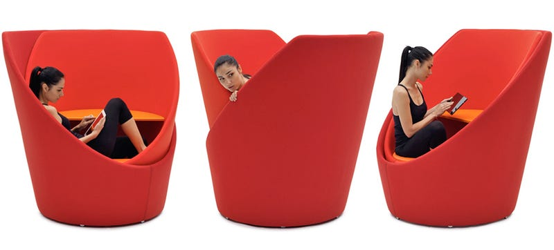 Illustration for article titled A Swivel Chair That Becomes Its Own Private Office