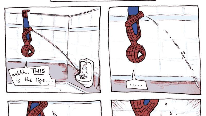 Spiderman bathroom hijinks for Bathroom w c meaning