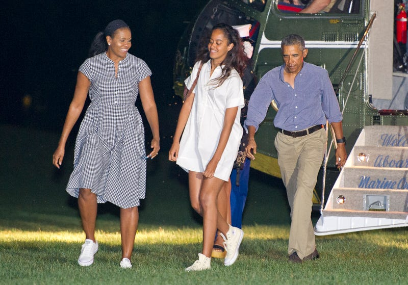 President Barack Obama and first lady Michelle Obama and daughters Malia and Sasha on August 21, 2016 in Washington, DC.
