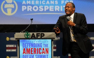 Dr. Ben Carson speaks at the Defending the American Dream Summit sponsored by Americans for Prospertity at the Omni Hotel in Dallas on Aug. 29, 2014.Mike Stone/Getty Images
