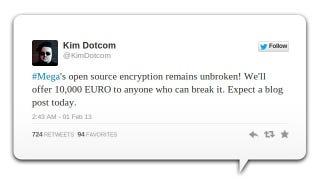 Illustration for article titled Kim Dotcom's Offering a Cash Reward If You Can Smash Mega's Encryption