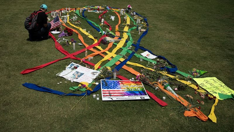 A gay pride ribbon is displayed in Orlando, Florida. (Photo: Drew Angerer)