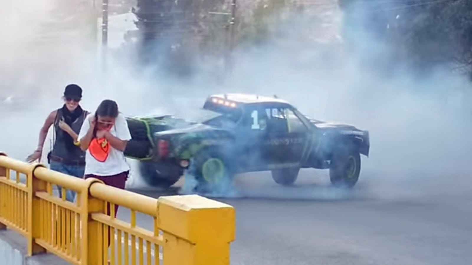 Truck Racers Are Tearing Up A Town Filming An Insane Stunt Movie