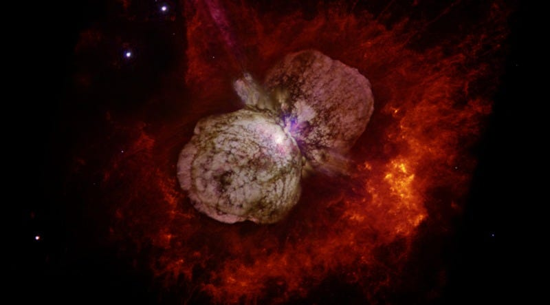 Eta Carinae is best known for an enormous eruption in the 1840s that created the billowing, hourglass-shaped Homunculus nebula. (Image: Nathan Smith/UA and NASA)