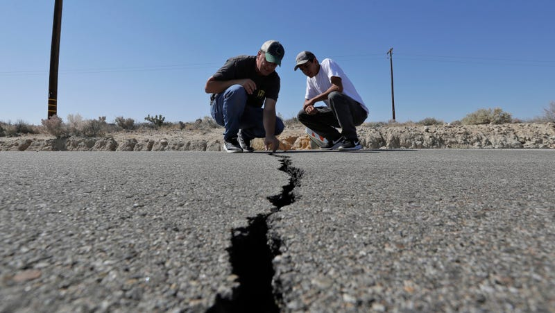 A crack left on a highway in the wake of last week's major earthquakes near Ridgecrest, California.
