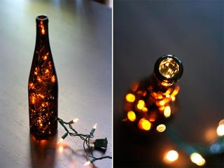 two things that always seem to be in surplus around the holidays are empty wine bottles and strands of christmas lights turn the two into a novel lamp with