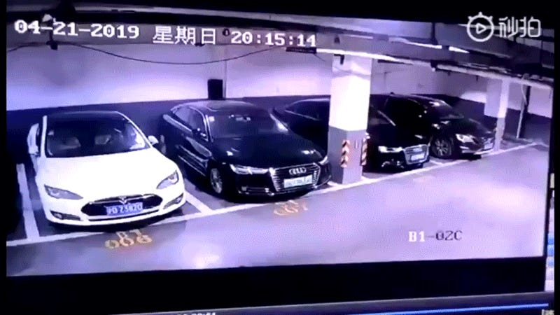 Surveillance Video of Tesla Exploding in Shanghai Parking Lot Goes Viral