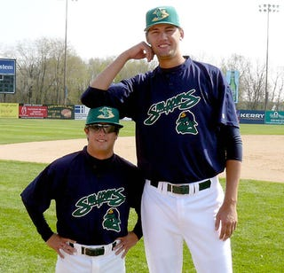 """Illustration for article titled """"Tall Pitcher and Short Stop."""" This Fall On NBC!"""