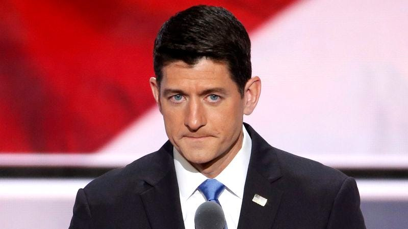 Illustration for article titled Paul Ryan Delivers Impassioned 10-Minute Pained Facial Expression