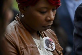 Lesley McSpadden, mother of the unarmed black teenager Michael Brown who was shot and killed in August by a white police officer in Ferguson, Mo., attends a press briefing in Geneva on Nov. 12, 2014, after a session of the United Nations Committee Against Torture. Committee members slammed police brutality that appears to disproportionately affect minorities.FABRICE COFFRINI/AFP/Getty Images