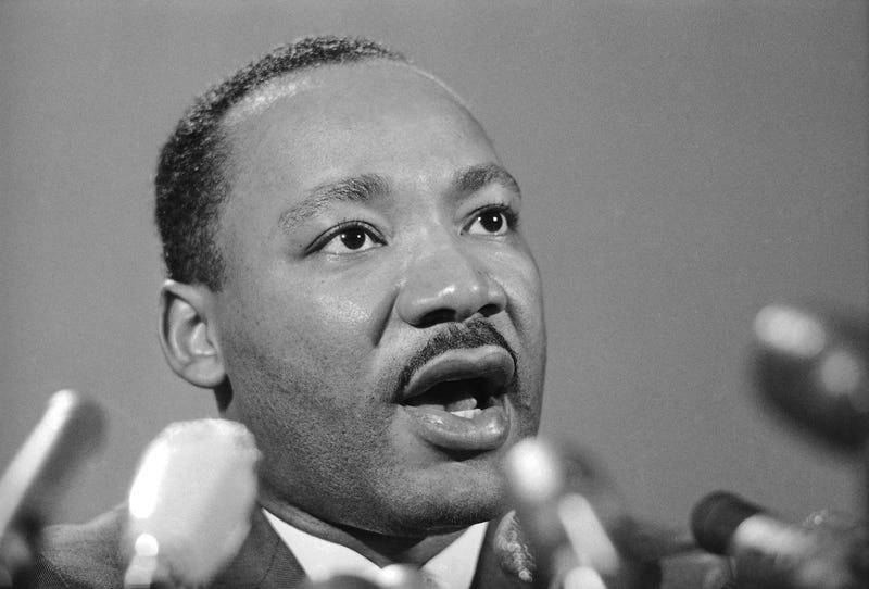 "Dr. Martin Luther King Jr., tells a press conference in Chicago, March 24, 1967 that civil rights demonstrations in Chicago ""…will be on a much more massive scale than last summer."" King said marches will include some by African American pupils to all-white schools."