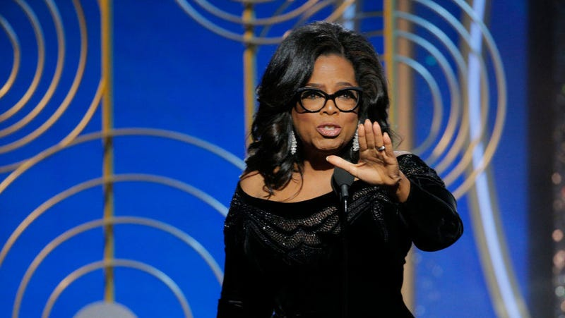 Oprah Winfrey at the Golden Globe Awards on Jan. 7, 2018 in Beverly Hills, Calif. (Paul Drinkwater/NBCUniversal via Getty Images)