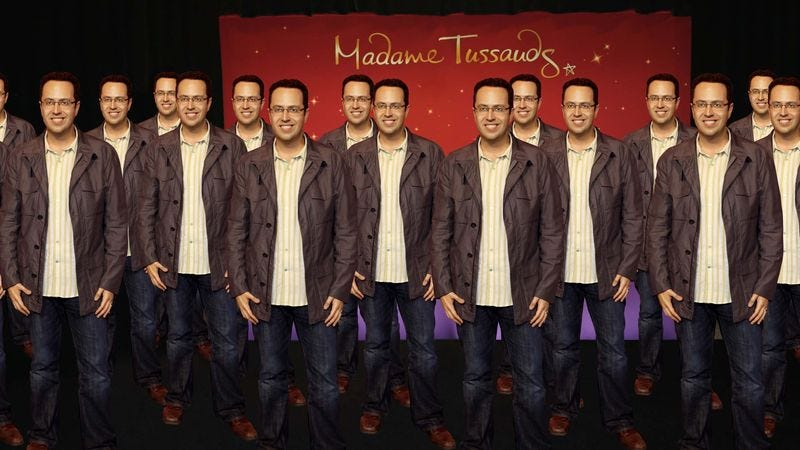 Illustration for article titled Terrible Timing: Madame Tussauds Just Unveiled 35 Identical Wax Sculptures Of Jared Fogle
