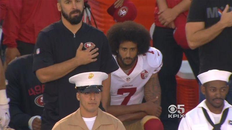 San Francisco 49ers backup quarterback Colin Kaepernick kneels during the anthem before the 49ers' final 2016 preseason game. (Screenshot: KPIX)