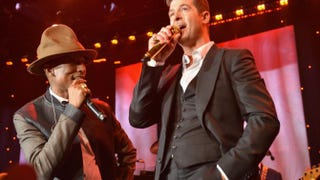 Pharrell Williams and Robin Thicke perform at a Grammy event in Beverly Hills, Calif., Jan. 25, 2014.Larry Busacca/Getty Images for NARAS