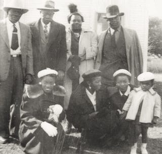 Hall family in 1952: Edward Hall stands second from left. (Courtesy of Dawn Prime Watson)