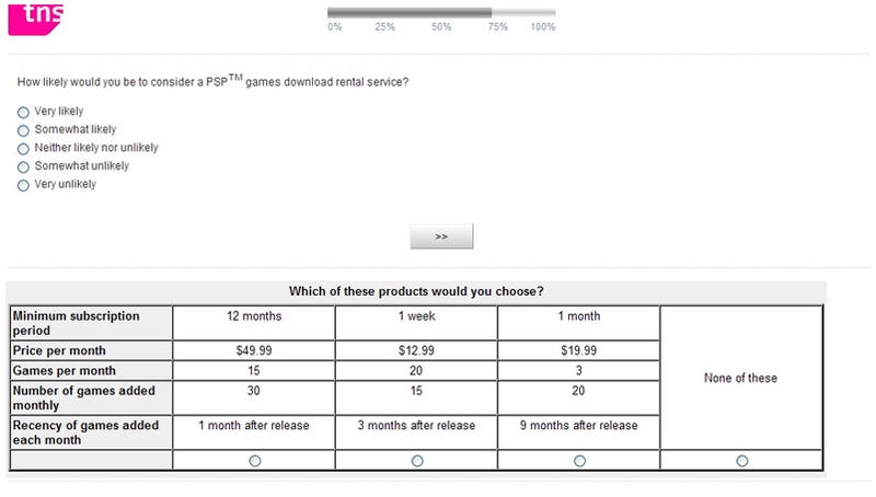 Illustration for article titled This Is A PSP Survey On Download Rental Services