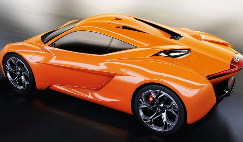 Illustration for article titled The Hyundai PassoCorto Concept Is Their Orange Alfa Romeo 4C-Fighter