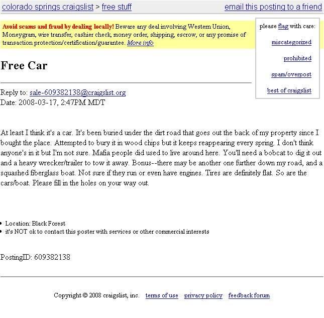 Cregslist Con: The Ten Weirdest Craigslist Car Ads Ever Made