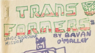 Illustration for article titled Scott Pilgrim's creator drew the Transformers...when he was 8