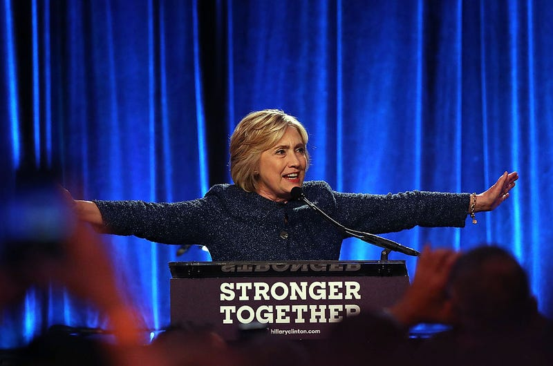 Democratic presidential nominee Hillary Clinton speaks during the LGBT for Hillary Gala at Cipriani Club on Sept. 9, 2016, in New York City.Justin Sullivan/Getty Images