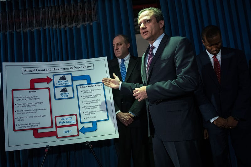 Preet Bharara, U.S. attorney for the Southern District of New York, gestures at a chart during a press conference announcing corruption charges against members of the New York City Police Department at the U.S. Attorney's Office, Southern District of New York, on June 20, 2016, in New York City.  Drew Angerer/Getty Images