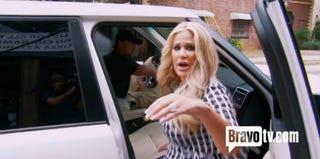 Real Housewives of Atlanta's Kim Zolciak leaves brunch. (Bravo.com)