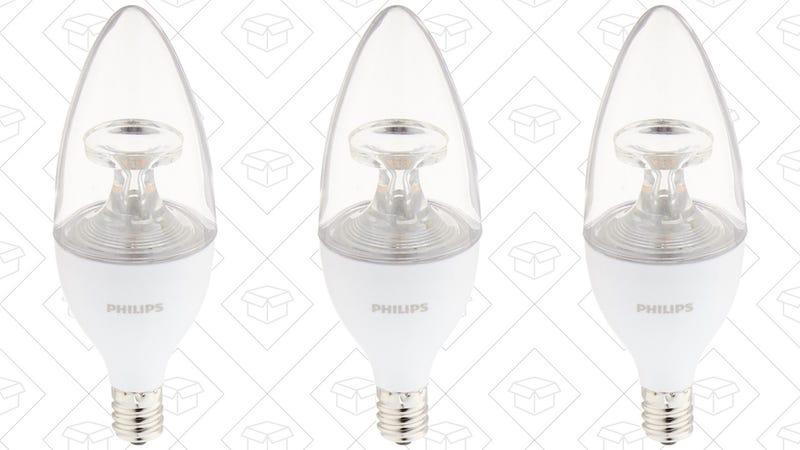 3-Pack Philips 40W Equivalent LED B11 Candelabra Bulbs, $6