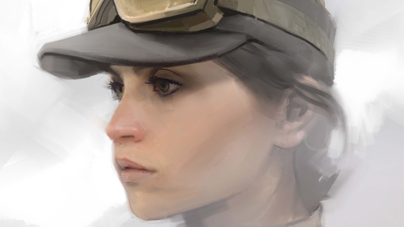 Jyn (Felicity Jones) in cap / Dillon. The Art of Rogue One: A Star Wars Story by Josh Kushins, and Lucasfilm Ltd. © Abrams Books, 2016(C) 2016 Lucasfilm Ltd. And TM. All Rights Reserved. Used Under Authorization.