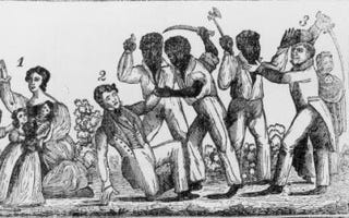 An engraving depicting the Horrid Massacre in Virginia duringNat Turner's Rebellion, circa 1831. (Getty Images)