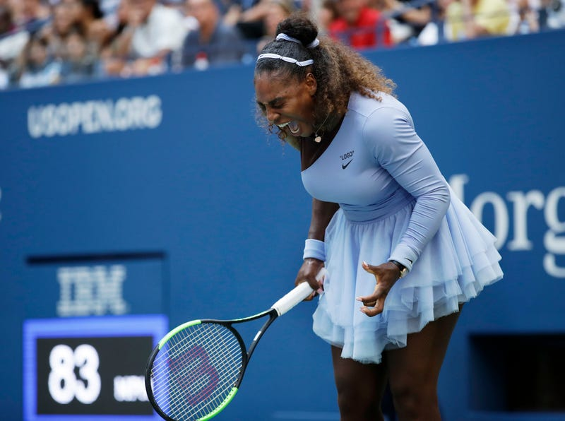 Serena Williams reacts after a point against Kaia Kanepi, of Estonia, during the fourth round of the U.S. Open tennis tournament, Sunday, Sept. 2, 2018, in New York.