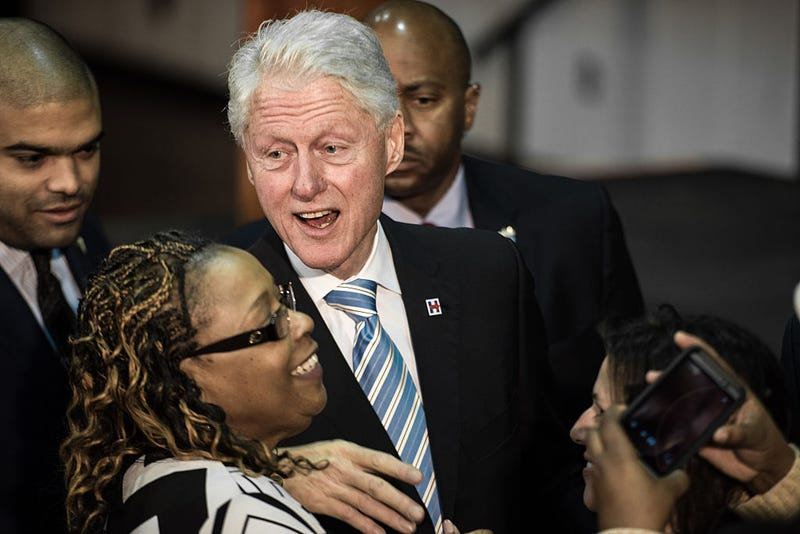 Former President Bill Clinton mingles with the crowd at Freedom Temple Ministry while campaigning for Hillary Clinton Feb.25, 2016, in Rock Hill, S.C. (Sean Rayford/Getty Images)
