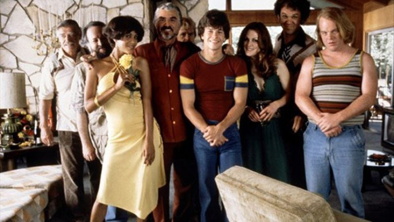 The cast of Boogie Nights inside the very house you could do coke in.