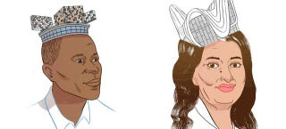 Illustration for article titled Crown or Dunce Cap? Starchitects Wear Their Famous Buildings As Hats