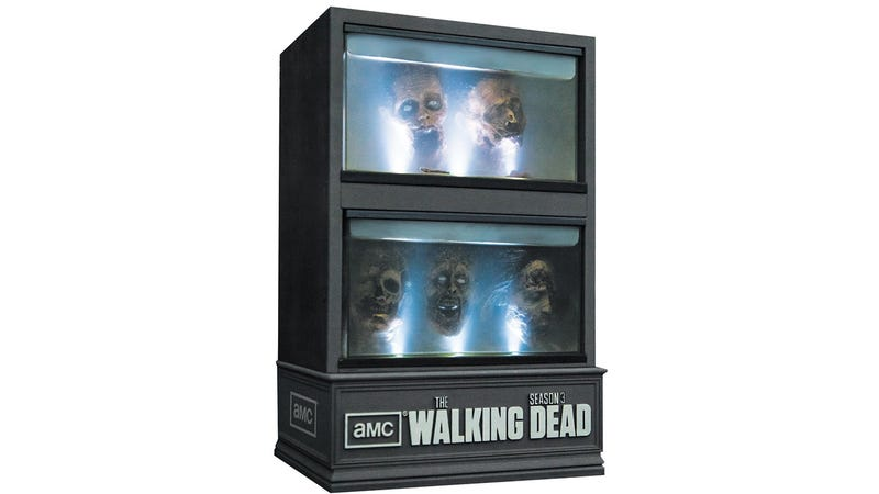 Illustration for article titled The Walking Dead: Season 3 on Blu-ray Comes In This Creepy Cabinet of Zombie Heads