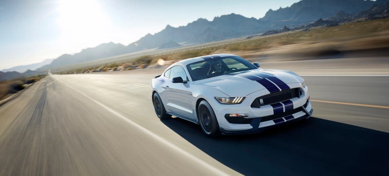 Illustration for article titled Shelby GT350 Mustang In White With Blue Stripes Is 500 HP Of America