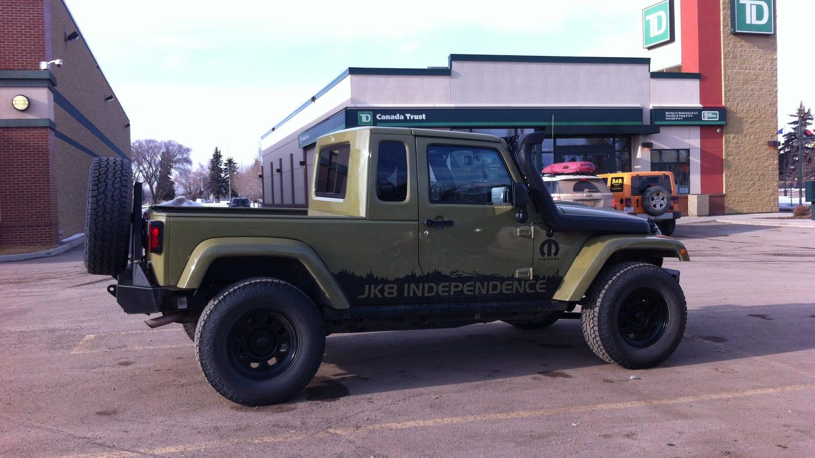 spotted in edmonton: jeep wrangler jk8 conversion.