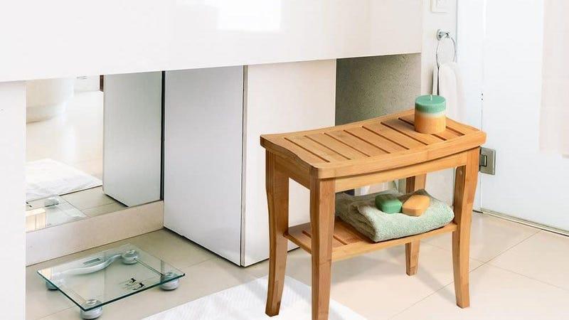 Bamboo Shower Seat Bench with Shelf   $50   Amazon