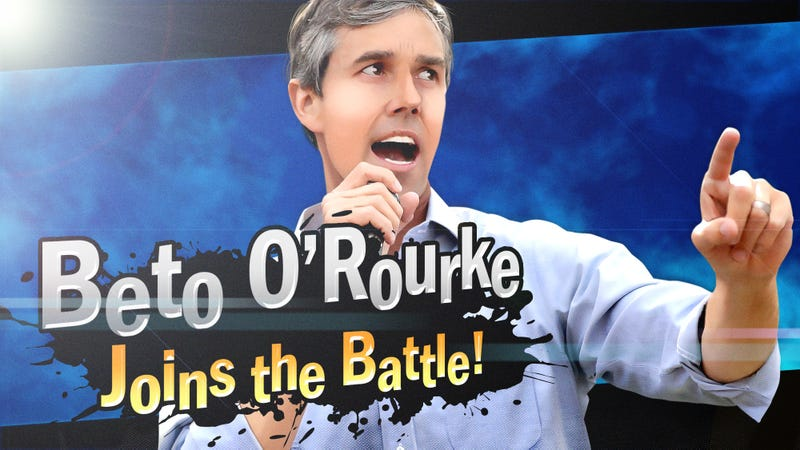 Illustration for article titled Breaking New Ground: Beto O'Rourke Has Become The First Presidential Candidate Available As A 'Smash Ultimate' DLC Fighter