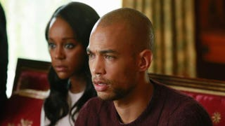 Law student Michaela (Aja Naomi King) and client-lover Caleb Hapstall (Kendrick Sampson) in How to Get Away With MurderABC/Mitchell Haaseth