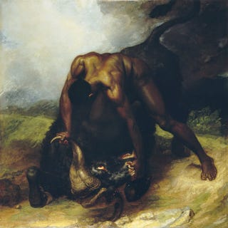 George Dawe, A Negro Overpowering a Buffalo — a Fact Which Occurred in America, 1809.Circa 1810, oil on canvas. Menil Col.