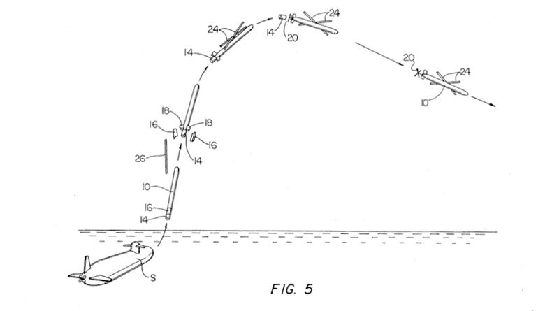 Illustration for article titled 1995 Patent Shows Early Version of Navy's Submarine-Launched Drone