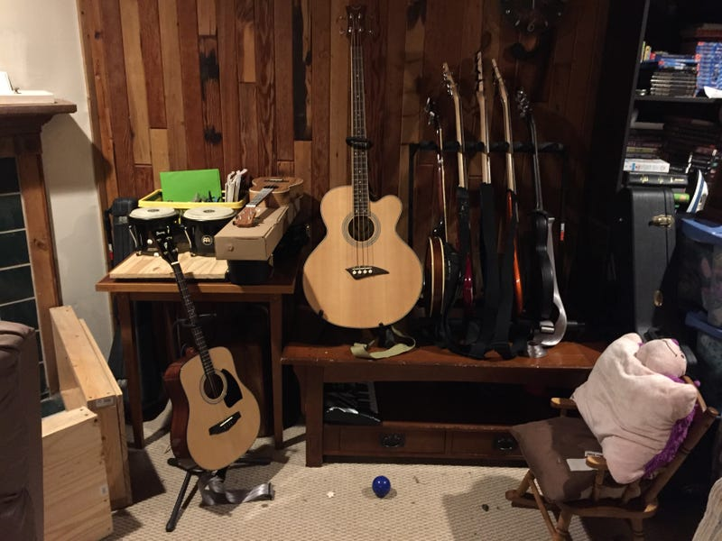 Pictured, our music corner.