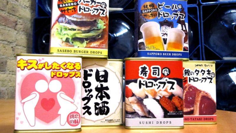 "Illustration for article titled Hamburger, sushi, beer, sake, tuna, and ""first kiss"" candy drops"